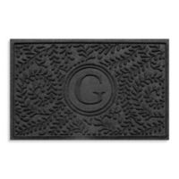 """Weather Guard™ Boxwood Monogrammed """"G"""" 23-Inch x 35-Inch Door Mat in Charcoal"""