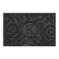 "Weather Guard™ Boxwood Monogrammed ""K"" 23-Inch x 35-Inch Door Mat in Charcoal"