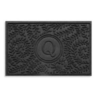 "Weather Guard™ Boxwood Monogrammed ""Q"" 23-Inch x 35-Inch Door Mat in Charcoal"