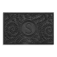 """Weather Guard™ Boxwood Monogrammed """"S"""" 23-Inch x 35-Inch Door Mat in Charcoal"""
