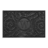 """Weather Guard™ Boxwood Monogrammed """"W"""" 23-Inch x 35-Inch Door Mat in Charcoal"""