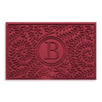 "Weather Guard™ Boxwood Monogrammed ""B"" 23-Inch x 35-Inch Door Mat in Red/Black"