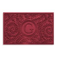 """Weather Guard™ Boxwood Monogrammed """"G"""" 23-Inch x 35-Inch Door Mat in Red/Black"""