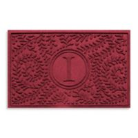 """Weather Guard™ Boxwood Monogrammed """"I"""" 23-Inch x 35-Inch Door Mat in Red/Black"""
