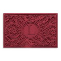 """Weather Guard™ Boxwood Monogrammed """"L"""" 23-Inch x 35-Inch Door Mat in Red/Black"""