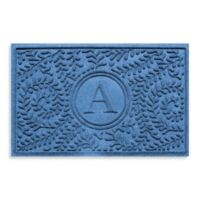 "Weather Guard™ Boxwood Monogrammed ""A"" 23-Inch x 35-Inch Door Mat in Medium Blue"