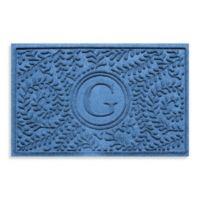 "Weather Guard™ Boxwood Monogrammed ""G"" 23-Inch x 35-Inch Door Mat in Medium Blue"
