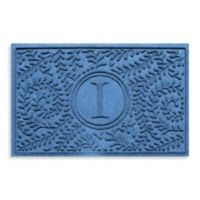 "Weather Guard™ Boxwood Monogrammed ""I"" 23-Inch x 35-Inch Door Mat in Medium Blue"