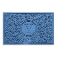 "Weather Guard™ Boxwood Monogrammed ""Y"" 23-Inch x 35-Inch Door Mat in Medium Blue"