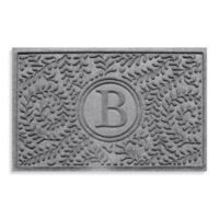 "Weather Guard™ Boxwood Monogrammed ""B"" 23-Inch x 35-Inch Door Mat in Medium Grey"