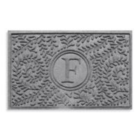 "Weather Guard™ Boxwood Monogrammed ""F"" 23-Inch x 35-Inch Door Mat in Medium Grey"