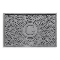 """Weather Guard™ Boxwood Monogrammed """"G"""" 23-Inch x 35-Inch Door Mat in Medium Grey"""