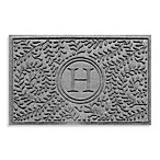 "Weather Guard™  Boxwood Monogrammed ""H"" 23-Inch x 35-Inch Door Mat in Medium Grey"