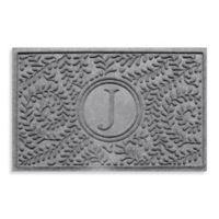 """Weather Guard™ Boxwood Monogrammed """"J"""" 23-Inch x 35-Inch Door Mat in Medium Grey"""