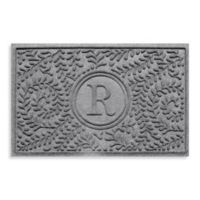 "Weather Guard™ Boxwood Monogrammed ""R"" 23-Inch x 35-Inch Door Mat in Medium Grey"