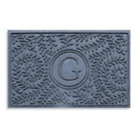"Weather Guard™ Boxwood Monogrammed ""G"" 23-Inch x 35-Inch Door Mat in Bluestone"