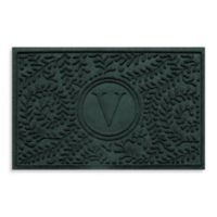 """Weather Guard™ Boxwood Monogrammed """"V"""" 23-Inch x 35-Inch Door Mat in Evergreen"""