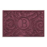 "Weather Guard™ Boxwood Monogrammed ""B"" 23-Inch x 35-Inch Door Mat in Bordeaux"