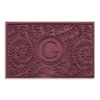 "Weather Guard™ Boxwood Monogrammed ""G"" 23-Inch x 35-Inch Door Mat in Bordeaux"