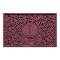 "Weather Guard™ Boxwood Monogrammed ""I"" 23-Inch x 35-Inch Door Mat in Bordeaux"