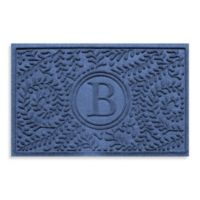"Weather Guard™ Boxwood Monogrammed ""B"" 23-Inch x 35-Inch Door Mat in Navy"