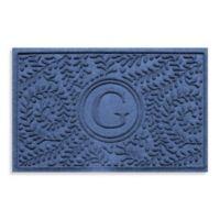 """Weather Guard™ Boxwood Monogrammed """"G"""" 23-Inch x 35-Inch Door Mat in Navy"""