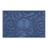 "Weather Guard™ Boxwood Monogrammed ""I"" 23-Inch x 35-Inch Door Mat in Navy"