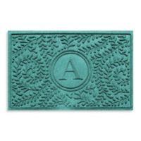 "Weather Guard™ Boxwood Monogrammed ""A"" 23-Inch x 35-Inch Door Mat in Aquamarine"