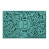 "Weather Guard™ Boxwood Monogrammed ""B"" 23-Inch x 35-Inch Door Mat in Aquamarine"
