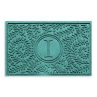 "Weather Guard™ Boxwood Monogrammed ""I""23-Inch x 35-Inch Door Mat in Aquamarine"