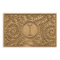 """Weather Guard™ Boxwood Monogrammed """"I"""" 23-Inch x 35-Inch Door Mat in Gold"""