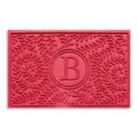 "Weather Guard™ Boxwood Monogrammed ""B"" 23-Inch x 35-Inch Door Mat in Solid Red"