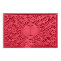 """Weather Guard™ Boxwood Monogrammed """"I"""" 23-Inch x 35-Inch Door Mat in Solid Red"""
