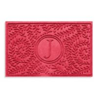 """Weather Guard™ Boxwood Monogrammed """"J"""" 23-Inch x 35-Inch Door Mat in Solid Red"""