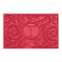 "Weather Guard™ Boxwood Monogrammed ""T"" 23-Inch x 35-Inch Door Mat in Solid Red"