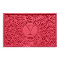 "Weather Guard™ Boxwood Monogrammed ""Y"" 23-Inch x 35-Inch Door Mat in Solid Red"