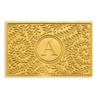 "Weather Guard™ Boxwood Monogrammed ""A"" 23-Inch x 35-Inch Door Mat in Yellow"
