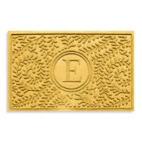 """Weather Guard™ Boxwood Monogrammed """"E"""" 23-Inch x 35-Inch Door Mat in Yellow"""