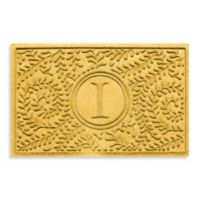 """Weather Guard™ Boxwood Monogrammed """"I"""" 23-Inch x 35-Inch Door Mat in Yellow"""