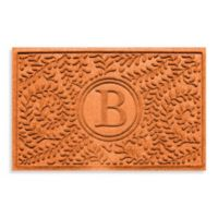 "Weather Guard™ Boxwood Monogrammed ""B"" 23-Inch x 35-Inch Door Mat in Orange"