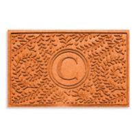 """Weather Guard™ Boxwood Monogrammed """"C"""" 23-Inch x 35-Inch Door Mat in Orange"""