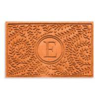 "Weather Guard™ Boxwood Monogrammed ""E"" 23-Inch x 35-Inch Door Mat in Orange"