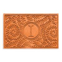 """Weather Guard™ Boxwood Monogrammed """"I"""" 23-Inch x 35-Inch Door Mat in Orange"""