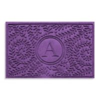 "Weather Guard™ Boxwood Monogrammed ""A"" 23-Inch x 35-Inch Door Mat in Purple"