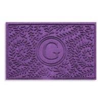 "Weather Guard™ Boxwood Monogrammed ""G"" 23-Inch x 35-Inch Door Mat in Purple"