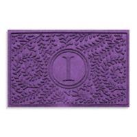 "Weather Guard™ Boxwood Monogrammed ""I"" 23-Inch x 35-Inch Door Mat in Purple"