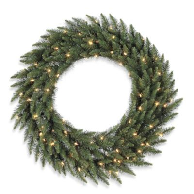 Buy 36 outdoor lighted christmas wreaths from bed bath beyond vickerman 36 inch camdon fir dura lit pre lit wreath with clear lights aloadofball Gallery