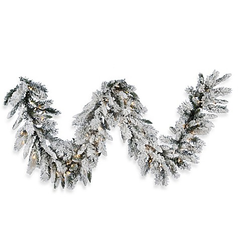 Vickerman 9 Foot Flocked Snow Ridge Pre Lit Garland With