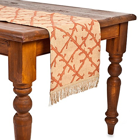 ecoaccents® Coral Lattice Burlap Table Runner