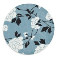 Safavieh Modern Art 7-Foot Round Rug in Blue/Cream